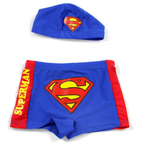 New Superman Printed Boys Swimming Trunk Short And Hat