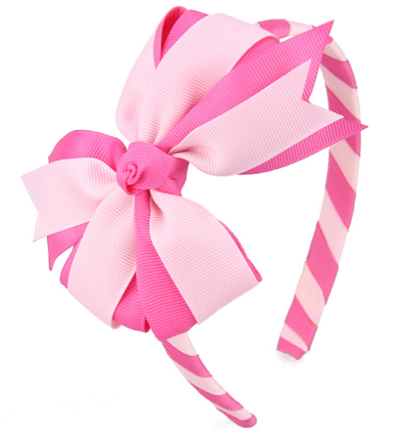 Lovely Boutique Striped Bow Hairbands For Baby Girls