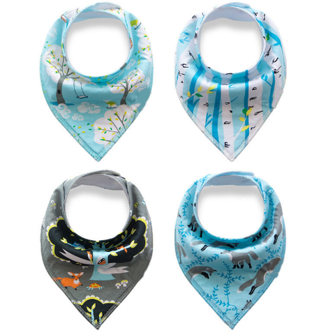 Colorful Print Soft Cotton Baby Bib/Triangle Scarf 4Pcs/Lot