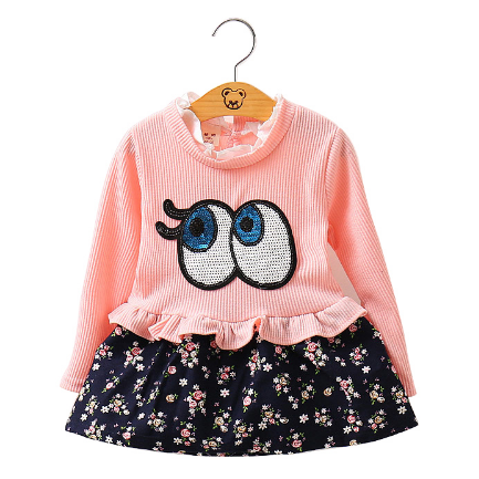 """Big Eyes"" Knitted Floral Printed Warm Dress"