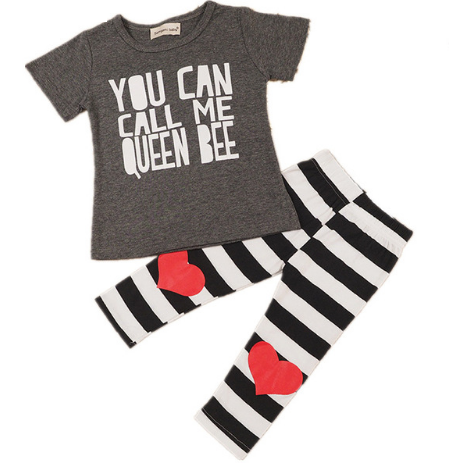 """You Can Call Me Queen Bee"" Printed T-shirt + Striped Heart Leggings"