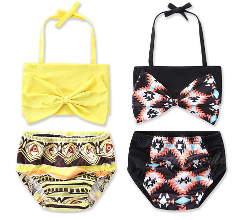 Girls Bow-knot Printed Bikini Set Swimwear