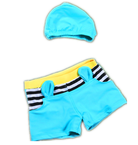 Cute Striped Swimwear With Cap For Boys