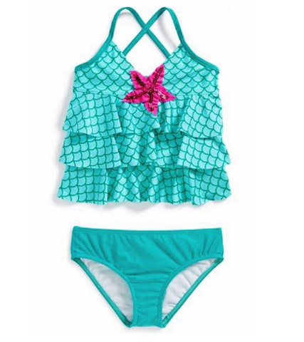 Baby Girls Cross Neck Mermaid Swimwear Bathing Suit