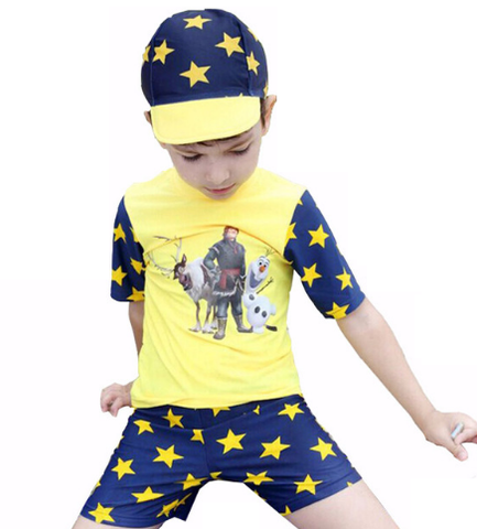 3 Pcs Star Printed Swimming Suit For Baby Boys