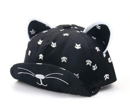 Printed Cat Nose Summer Hats With Ears