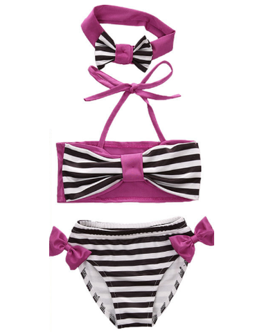 3 Pcs Striped Bow Swimming Suit With Headband