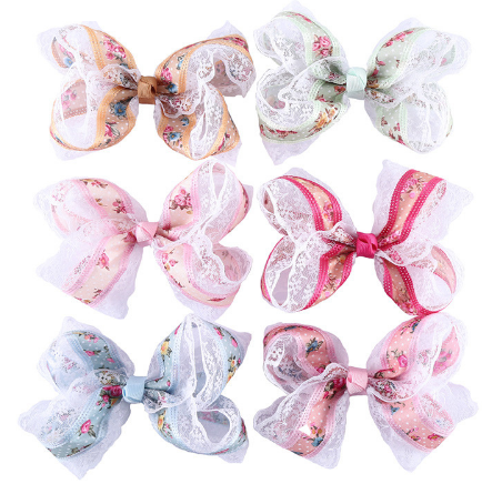Floral Printed Ribbon Lace Bows Boutique Hairpins