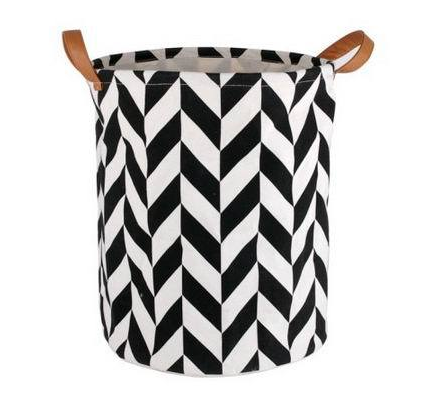Geometric Design Basket With PU Handles