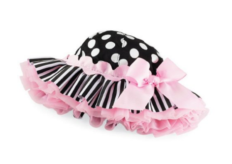Dotted Ribbon Butterfly Knot Striped Ruffle Cap