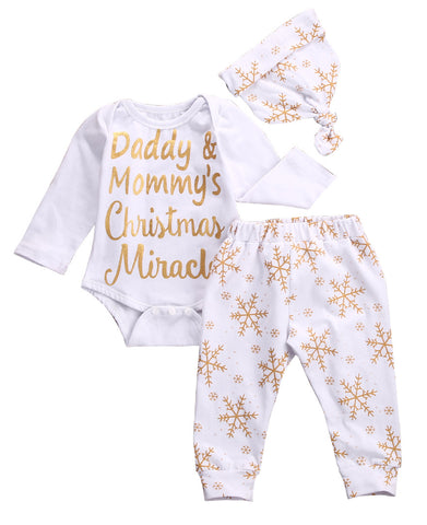 Newborn Baby Girl Boy Snowflake Romper, Pants And Hat Outfit Set