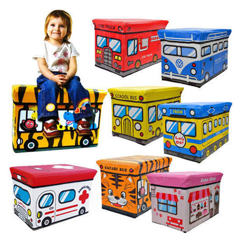 Cute School Bus Folding Kids Storage Boxes