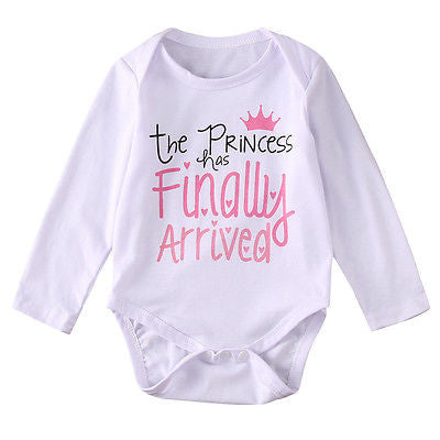 """The Princess Has Finally Arrived"" Girls Winter Long Sleeve Romper"