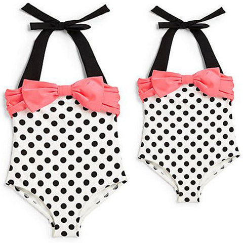 Polka Dot Bow-knot Girls Swimwear And Beachwear