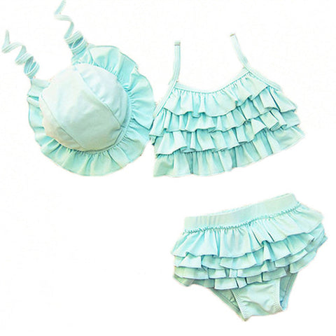 Ruffle Swimsuit With Head Cap Girls Two Piece