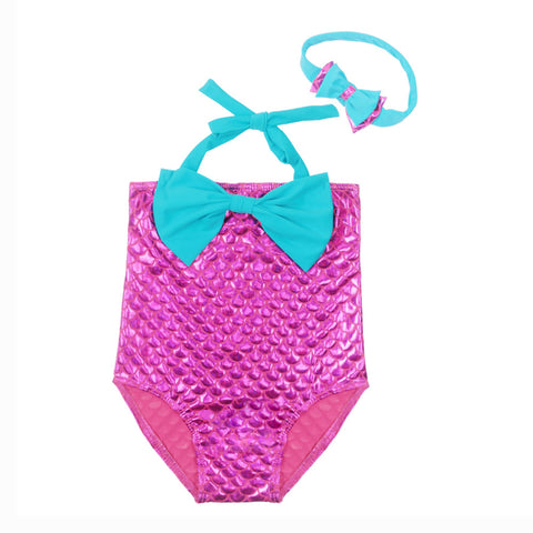 Girl's Mermaid Pattern Swimsuit with Headband