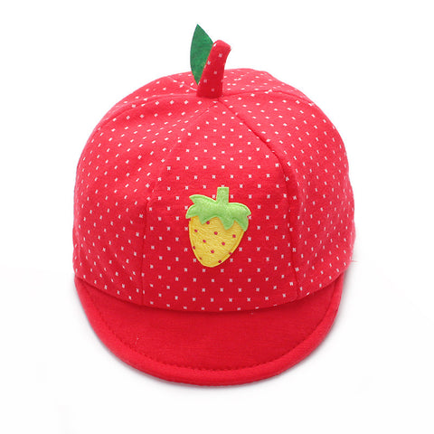Cute Strawberry Fruit Print Dotted Cap