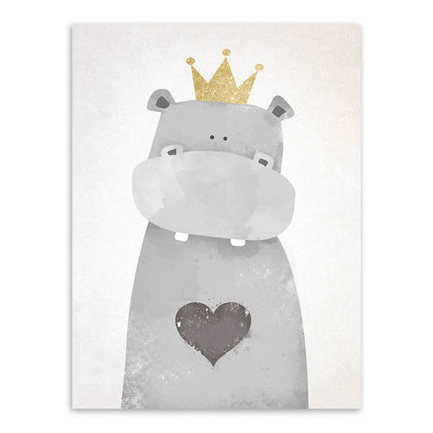 New Bear Print Posters Canvas Painting For Kids Room