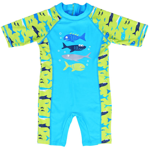 One Piece Printed Bathing Suit For Boys