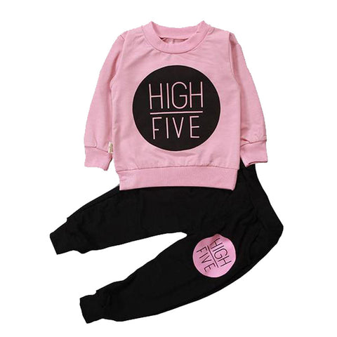 Casual High-Five 2pcs Tracksuits For Baby Girl
