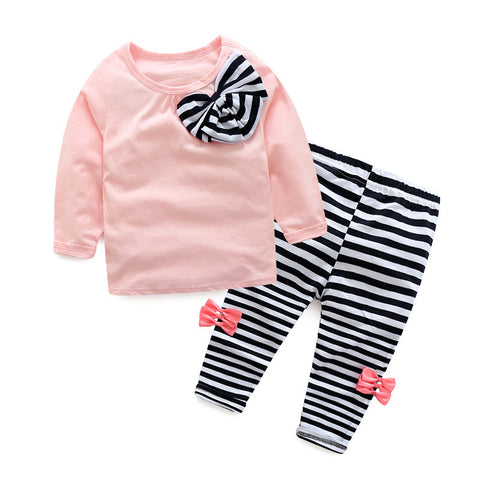 Bowknot Top Stripe Pant Clothes Set For Girls