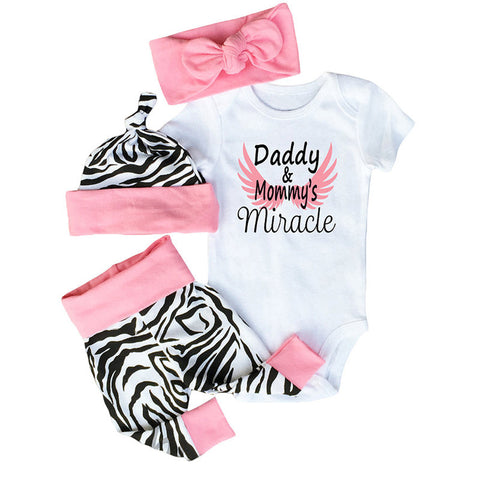 4pcs White Cotton Zebra Pattern Rompers Clothing Sets