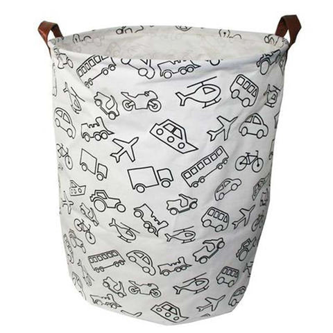 Printed Transportation Canvas Storage Basket