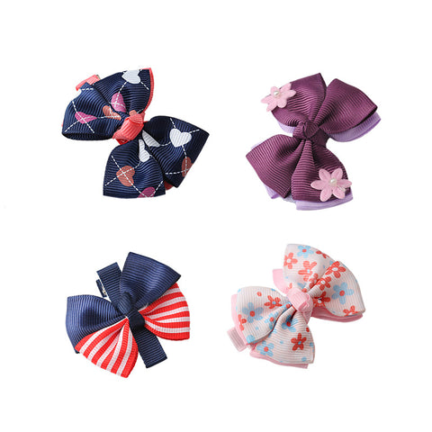 Floral Striped Printed Pattern Bow-knot Hair-clips