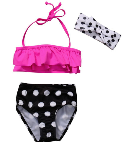 New Polka Dot Summer Bikini Set With Head-wear