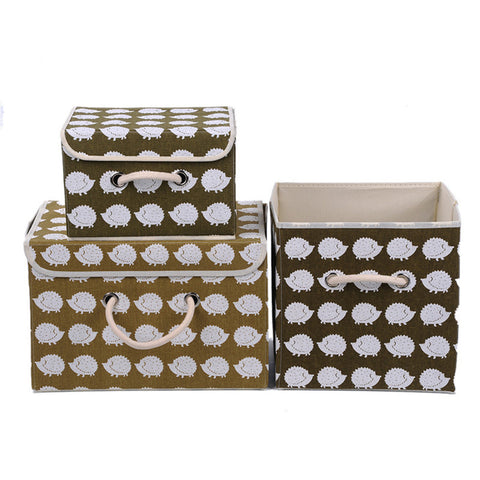 3 Size Cotton And Liene Storage Box With Cap