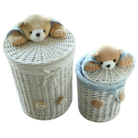 Bear Head Woven Wicker Round Basket