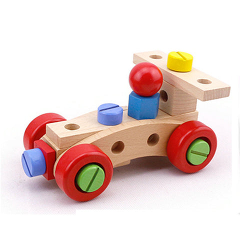 Building Car Assemblage Wooden Blocks