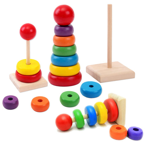 1 Set of Rainbow Stack Up Rings Wooden Toy
