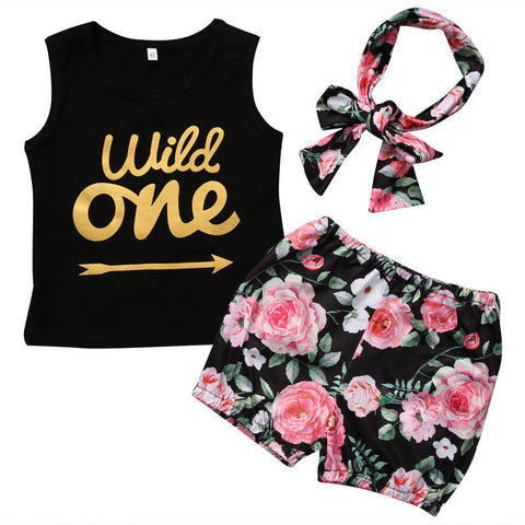 """Wild One"" Arrow Printed Vest Top + Floral Shorts And Headband"