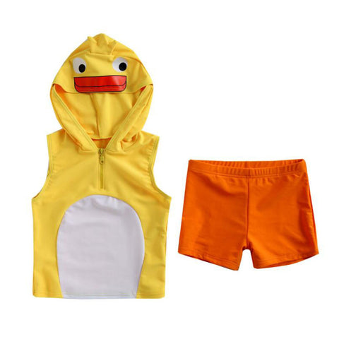 Lovely Duck Hooded Two-Pieces Kids Bathing Suit/Swim Suits