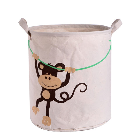 Cartoon Monkey Design Linen Fabric Storage Basket