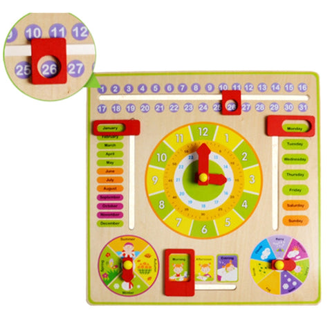 Abacus Flap Creative Wooden Clock And Date Learning Toys