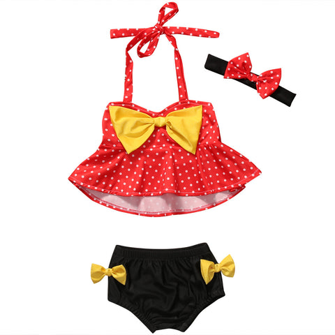 Bow-knot Polka Dot Beachwear Summer Bikini Set