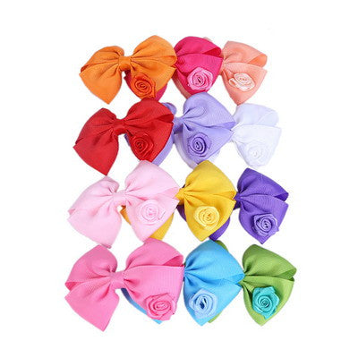 Cute Bow Hair-clips For Girl's With Little Rose