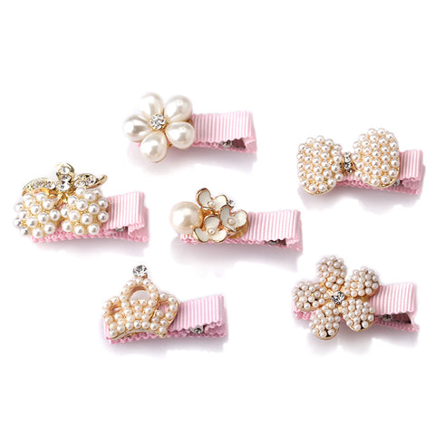 Baby Girl's Pearls Hair-clips Accessories 6PCS/Set