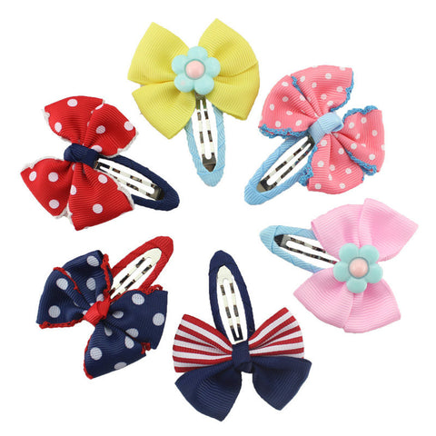 Cute Dotted Handmade Bow Flower Hairpins