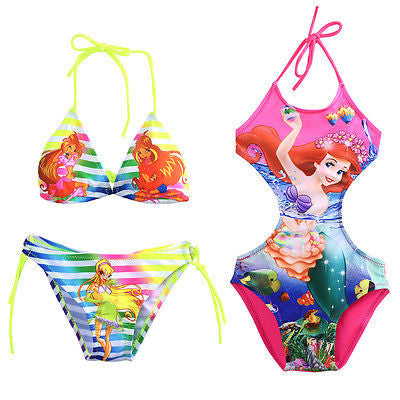 Cute Cartoon Print Baby Girls Bikini Swimwear