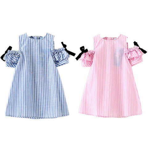 Cute Striped Bow Off Shoulder Summer Dresses