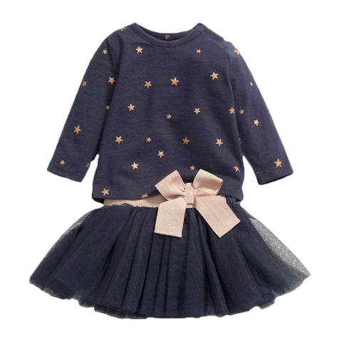 New Fashion Star Applique T-shirt With Bow Tutu Skirt