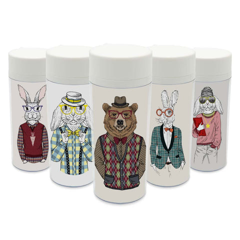 Plastic Insulated Modern Abstract Animals Print Water Bottles