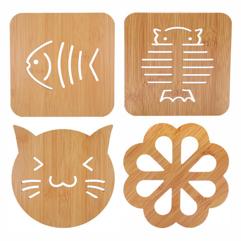 Wooden Carved Coasters Pad Kids Tableware Decor