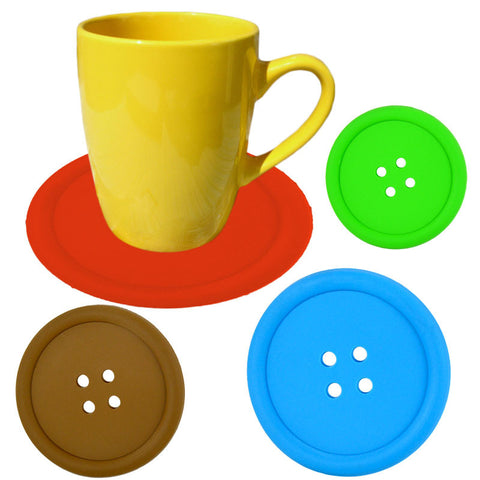 5Pcs/lot Silicone Cup Button Pattern Coaster For Creative Table Decor