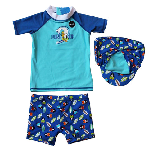 3 Pcs Printed Swimming Suit For Baby Boys