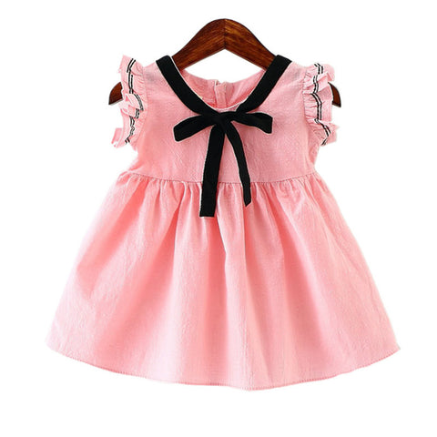 Stylish Bow Tie Cotton A-line Dress For Girls