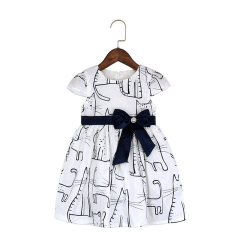 Cat Print Cotton Dress With Side Bow-knot